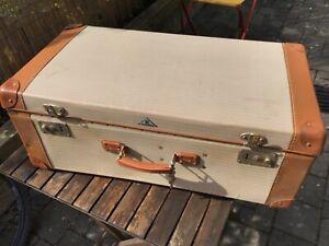 Alter Reise Picknick Koffer 50 er Jahre Kunststoff/ Leder Vintage 67x36x25 cm