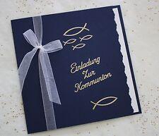 Einladungskarte Kommunion inkl. Umschlag und Einleger Handarbeit dunkelblau
