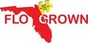 "FLO GROWN Florida Die Cut Decal Sticker Size 3.25"" x 7.25"" Choose Color p410"