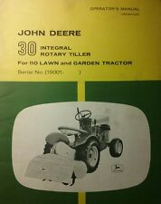 John Deere 30 Tiller 110 112 Round Fender Garden Tractor Owner & Part Manual 36p