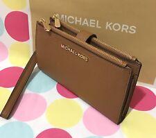 NEW Michael Kors Jet Set Travel Leather  Double Zip Wristlet/Wallet  in Acorn