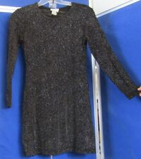 EUC Clubbing MINI DRESS by EXPO Black w.IRIDESCENT DOTS Long Sleeve USA Sz 6