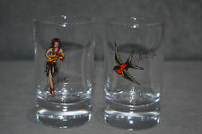 2x Sailor Jerry Spiced Rum Limited Edition Glasses Glass Tumbler Rare Brand New