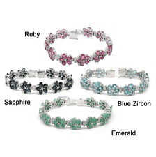 De Buman Sterling Silver Natural Ruby, Sapphire, Blue Zircon or Emerald Bracelet