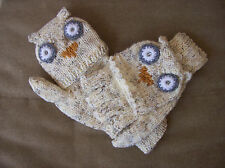 HANDMADE OWL FINGERLESS GLOVES / MITTS