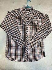 Wrangler L/S western snap shirt size L blue, black Western Shirt #C2