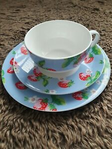 CATH KIDSTON Strawberry Design LARGE TEA CUP and SAUCER  with side plate QUEENS