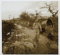 Belgium Guerre 14-18 Francia Foto Stereo PL46Th2n5 Placca Vintage