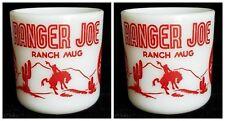 2 Vintage Milk Glass Ranger Joe Ranch Mugs