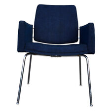 Mid Century Modern Blue Accent Chair with Chrome Legs by J.G Furniture