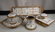 Antique Josephine Porcelain Desk Set - Inkwell, Pen Tray, Pen Wipe & Blotter