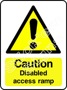 Caution Disabled access ramp DDA0004 Disabled stickers & signs