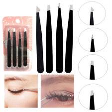 4pcs/set Stainless Steel Slant Tip Tweezer Precision Eyebrow Hair Remover Tools