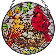 "Nesting Cardinals Bird Suncatcher Hand Painted Glass By Amia Studio 4.5""x 4.5"""