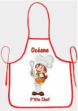 tablier de cuisine fille p'tite chef personnalisable avec prénom réf 34