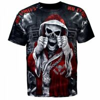 Mens T-shirt Black Short Sleeve Fight Wear MMA Fighters Champion Boxing K1 Skull