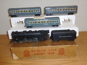MARX TRAINS BOXED SET #35250 NEW YORK CENTRAL LOCOMOTIVE STEAM PASSENGER 3 CARS