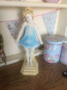 Art Deco Chalkware Figure Young Girl  holding on too her dress 1930-1950 - 310mm