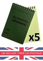 X5 A6 Waterproof All Weather Notepad Notebook Note Pad Book Army Cadets Camping