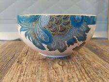 "222 FIFTH ""ELIZA TEAL"" FLORAL SOUP/CEREAL BOWLS - TEAL/GOLD/WHITE florals 1 bowl"