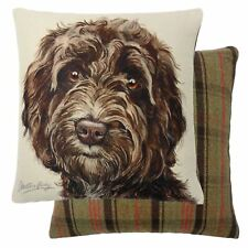 EVANS LICHFIELD BROWN COCKAPOO DOG FILLED REVERSIBLE TARTAN COTTON CUSHION 17""