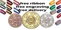50mm Metal Medal Free Engraving, Ribbon + UK Postage Kids Swimming Party Parties