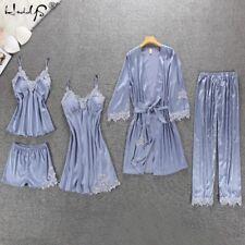 Women Pajamas 5 Pieces Satin Sleepwear Pijama Silk Home Wear Embroidery Sleep Pj