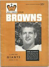October 14, 1956 Cleveland Browns vs New York Giants Program