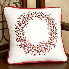BERRY WREATH EMBROIDERED PILLOW : BERRIES WHITE CHRISTMAS RED BERRY TOSS CUSHION