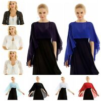 Womens Lace Chiffon High Low Shawl Cropped Bolero Shrug Top Cardigan Capes Wraps
