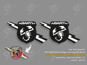FIAT 500 ABARTH 595 695 TURISMO COMPETIZIONE WHITE SIDE BADGE STICKERS