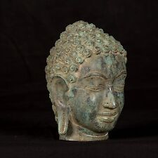 "XVIII Secolo Antico sud-est asiatico THAI Bronzo Buddha Statua Testa - 18 cm / 7 """
