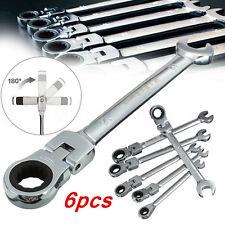 6Pcs/Set 6mm-12mm Metric Head Ratchet Spanner Flexible Pivoting Gear Wrench Tool