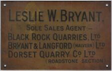 More details for l. w. bryant brass metal quarry company promotional exterior sign c.1930 malvern