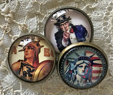 "UNCLE SAM 7/8"" Glass Dome BUTTON Set of 3 Vintage Statue of Liberty Patriotic"