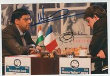 Chess ANAND & VACHIER-LAGRAVE Paris 2013 signed original photo 2 x autograph