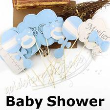 10pcs Baby Boy Mini Mister Shower Photo Booth Props Party Dekorationen in blau