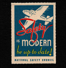 "Opc Vintage National Safety Council Poster Stamp ""Safety is Modern"" Mnh"