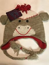 Sock Monkey Knit Beanie Hat Junior One Size By Critter Collection