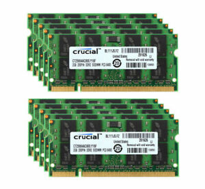 For Crucial 10X 2GB 2RX8 PC2-6400 DDR2-800MHz DDR2 200pin SODIMM Laptop Memory