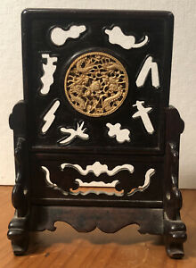 Antique c.1890's Carved Chinese Dragon Medallion Plaque in Rosewood Stand