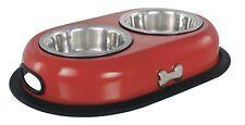 Buckingham Double Puppy Bowl / Feeder / Dish RED