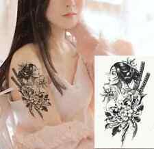 Japanese Geisha Girl, Flowers & Katana Tattoo Fake Sticker Women Mens Arm Leg