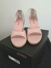 Jones the Bootmaker - Blush Open Toe Wedge Sandals with Ankle Strap - UK Size 5