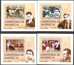 {235} Guinea Bissau 2008 Chess Champions ( III ) 4 S/S Deluxe MNH**