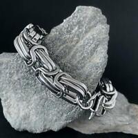 Edelstahl Armband Herren Königskette Byzantiner Armkette Silber XXL 24cmx14 mm