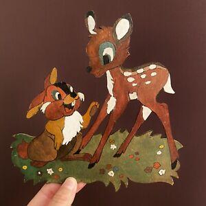 LAUBSÄGEARBEIT 1970er Graupner Graubele: Bambi+Klopfer 20x20cm Märchenholzbild