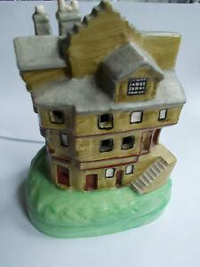 Pottery piggy bank Flat back pottery  glazed house shaped money box (ref28)