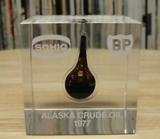 Rare Vintage 1977 SOHIO & BP Alaska Crude Oil Lucite Paperweight With Oil Drop