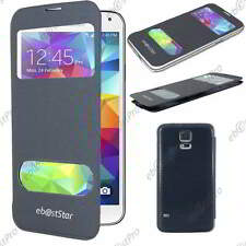 Accessoire Housse Coque Etui S-View Flip Cover Noir Samsung Galaxy S5 G900F
